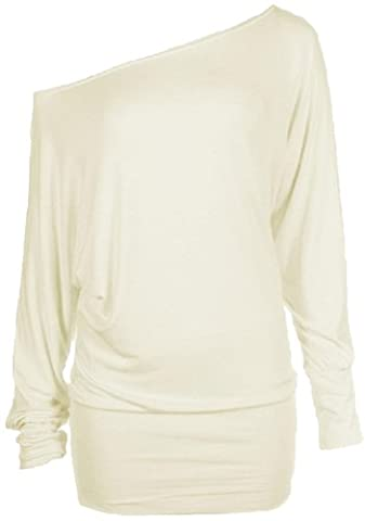 Womens Plus Size Batwing Top Plain Long Sleeve Off Shoulder Big Size Tshirt Top 16-26 (24-26 Xxxl, Cream)