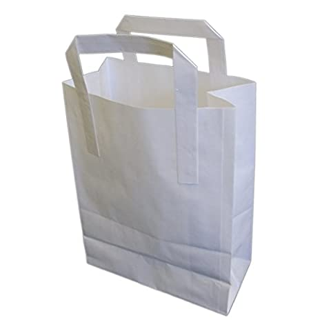 EPOSGEAR® 50 Pack White Small SOS Kraft Takeaway Paper Carrier Bags 7x8.6x3""