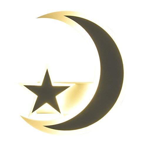 BAIF Wandleuchten, Kinder Schlafzimmer Nachttischlampe Cartoon Moon Star Junge und Mädchen Dekoration Wand hängen Lampe gelb Licht Halterung Licht - Star Wand Hängen
