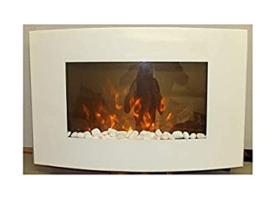 TruFlame 2019 7 colour Side LEDs Wall Mounted Arched White Glass Electric Fire with Pebble Effect (88cm wide)