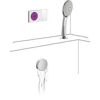 Kit electrónico de bañera termostático empotrado · Desagüe bañera y válvula de llenado redonda CASCADA con rebosadero (1.34.534.30). · Sifón PVC bañera (1.34.634.60). · Ducha masaje, 5posiciones. (299.631.06). · Flexo doble engatillado.