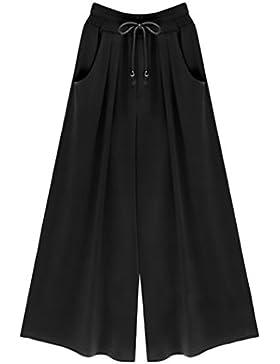 Pantalones Anchos Mujer Verano Elegantes Talla Grande Pantalon De Cintura Alta Casual Color Solido Ropa Pantalones...
