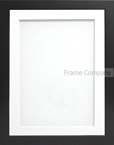 Frame Company Connolly Range Bilderrahmen, Weißes Passepartout, aus Holz, Verschiedene Größen, Schwarz 14x11 for pic size A4 (11.75x8.25'') (Schwarz 11x14 Bilderrahmen)