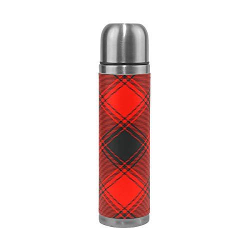 Wasserflasche Buffalo Karo Muster Rot Schwarz geneigt Edelstahl PU Leder Vakuum Isolierte Reise Becher 417 ml doppelwandig Kaffee Tasse Flasche (Für Karo-flasche Männer)