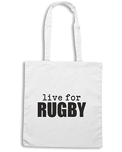 T-Shirtshock - Borsa Shopping TRUG0034 live for rugby logo Bianco