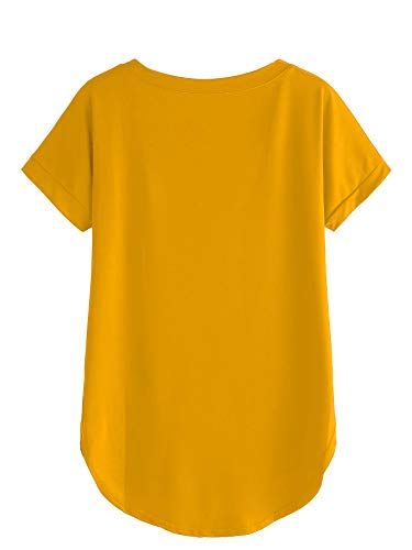 Fabricorn Plain Mustard Yellow Up and Down Cotton Tshirt for Women (Mustard Yellow, Large)