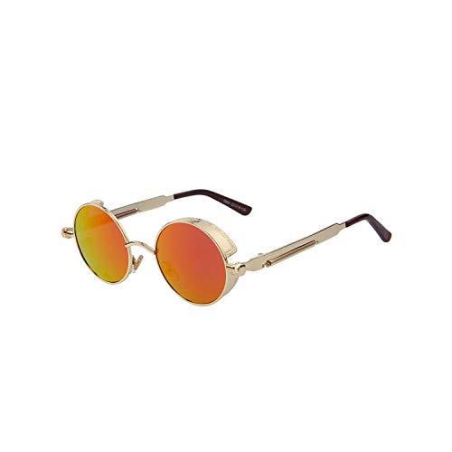 Sportbrillen, Angeln Golfbrille,Vintage Women Steampunk Sunglasses Brand Design Round Sunglasses Oculos De Sol UV400 C04 Gold Red