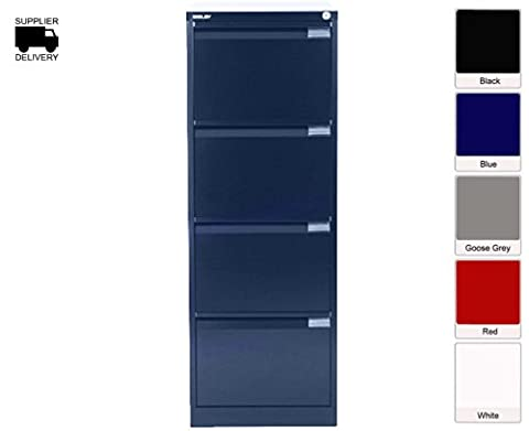 Bisley Filing Cabinet BS4E 4 drawer H1321xW470xD622mm Steel - Color: Oxford Blue