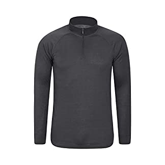 Mountain Warehouse Talus Mens Thermal Baselayer Top - Long Sleeve Sweater, Zip Neck, Quick Drying Pullover, Breathable, Lightweight - Great for Winter, Travelling 10