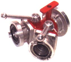 Storz-Verteiler-2-fach mit Kugelabsperrung 1 x 52-C, 2 x 25-D