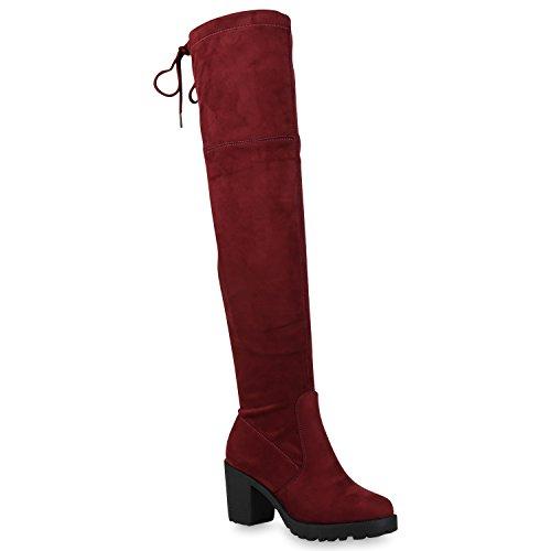 Stiefelparadies Modische Damen Stiefel Profil Sohle Overknees Block Absatz Flandell Dunkelrot