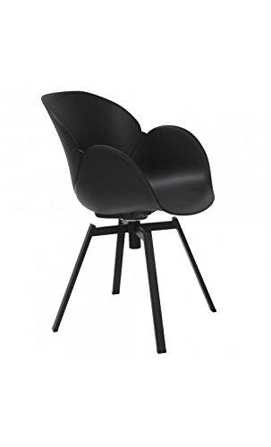 La Chaise Longue - Lot de 4 Fauteuils Design Noir et métal Cocoon