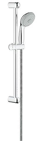 GROHE 27644000 Tempesta 100 Shower Rail Set, Hand Shower (100 mm), Shower Rail (600 mm) and Shower Hose (1750 mm)) 3 Spray Patterns, 9.5 L/minute
