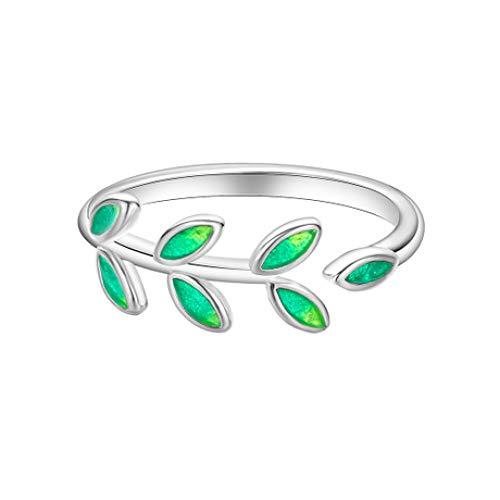 Glz Ring Silber Sterling Silber Zweig Ring weiblichen Öffnung Blatt Drop Kunststoff Blatt Ring