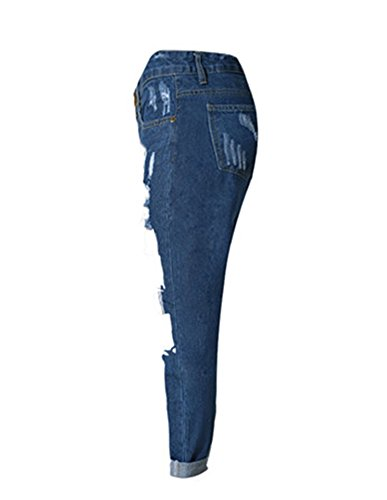 Damen Gerissen Jeans Hohe Taille Loch Modern Lässige Denim Hosen Jeanshose Gerade Geschnittene Jeans Dunkelblau