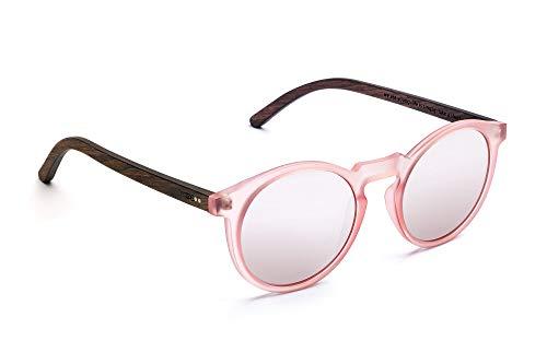 TAKE A SHOT - Schmale runde Holz-Sonnenbrille Damen, Holz-Bügel und Kunststoff-Rahmen, UV400 Schutz, rückentspiegelte Gläser - Molly