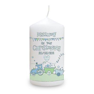 Whimsical tren vela, diseño de, para él, bautizo, bebé, de regalo con mensaje personalizado