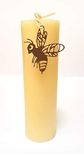 Exklusive große Stumpenkerze 220mm x 65mm weiß creme aus 100% weißem Bienenwachs Hochzeit Taufe Adventskerze Kaminkerze Altarkerze