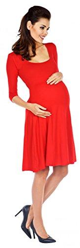 Zeta Ville - Damen Umstandskleid mit 3/4-Arm - Swing-Kleid für Schwangere - 314c Rot