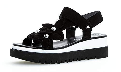 Gabor 23.611 Damen Sandalen,Keilsandalen, Frauen,Keilabsatz-Sandaletten,Keilsandaletten,Sommerschuh,flach,Best Fitting,schwarz,8 UK Blue Suede Sandalen