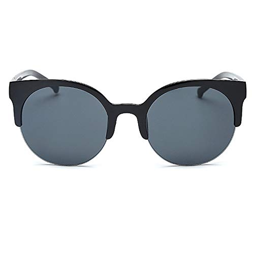 Aprigy - Retro Runde Sonnenbrille Frauen Cat Eye Brillen Halbrahmen Sonnenbrille Männer Weibliche Mode Mirorr Sonnenbrillen [Mattschwarz]