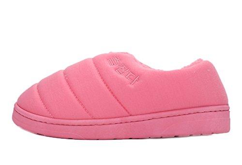 Icegrey Coton Chaussures Rembourrées Peluche Maison Plat Pantoufles Chaussons Couples Amoureux Rose rouge