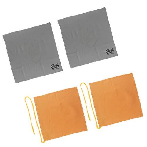 4 Stück Waschhandschuh Musikinstruments Reinigungstuch Reinigung Polierhandschuh Pflege Handschuh, Grau + Gelb