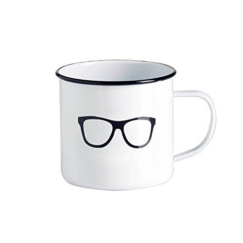 Emaille-Tasse / Kaffeebecher / Tasse weiß - Motiv Retro-Brille / Vintage-Tasse groß / robust - 500 ml / für Picknick Outdoor Camping Retro-Küche / Becher emailliert