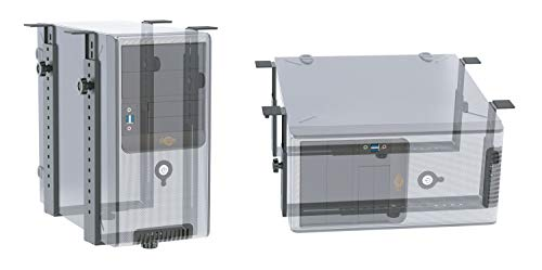 RICOO TRH-02, Rechner-Halterung, Schreib-Tisch, Komplett-Paket, PC-, Computer-, Gehäuse-Halter, Stehend Liegend, Unter-Tischhalterung, Schwarz