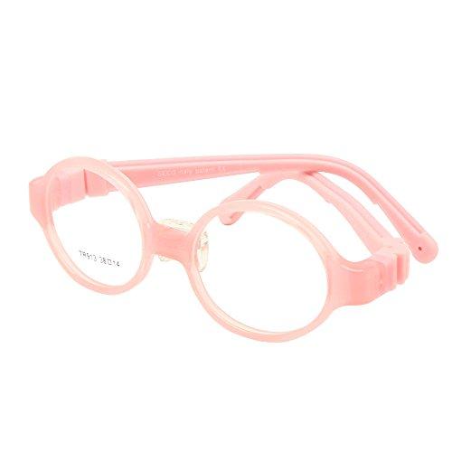 EnzoDate Kinder optische Gläser Größe 38 mit Nasenauflage keine Schraube biegsamen Kinder Rahmen Teens TR90 Silikon Sicherheit flexibel (rosa)