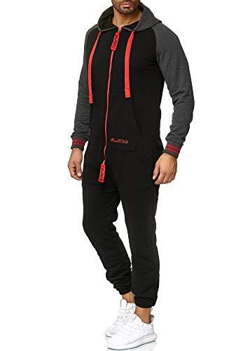 OneRedox Herren Trainingsanzug Unisex Jogger Jumpsuit Jogging Anzug Overall Einteiler Modell 1273 Schwarz Rot XXL