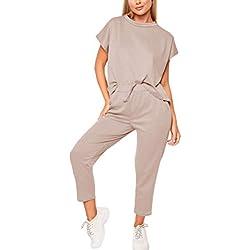 Minetom Femme Jogging Yoga Survêtement Été Costumes De Sport Casual Manche Courte Top T-Shirt Et 7/8 Pantalon Ensemble De Sportwear 2pcs Kaki FR 38