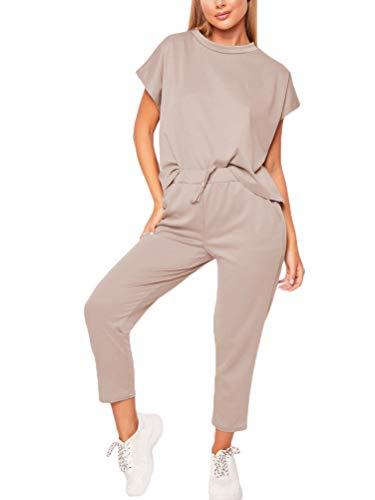 Minetom Femme Jogging Yoga Survêtement Été Costumes De Sport Casual Manche Courte Top T-Shirt Et 7/8 Pantalon Ensemble De Sportwear 2pcs Kaki FR 36