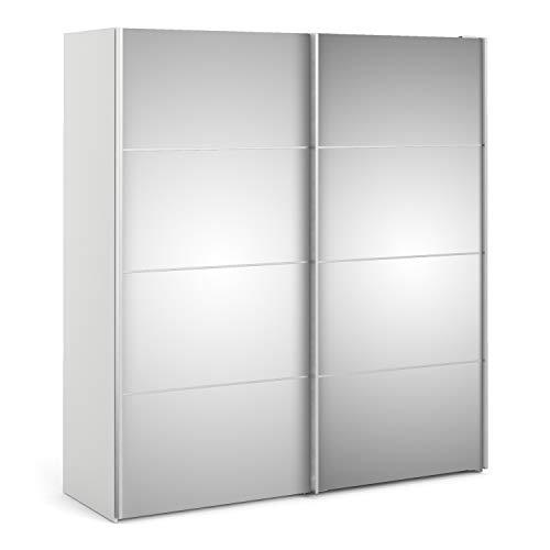 Irfu verona armadio scorrevole 180 cm bianco con ante a specchio con 2 ripiani