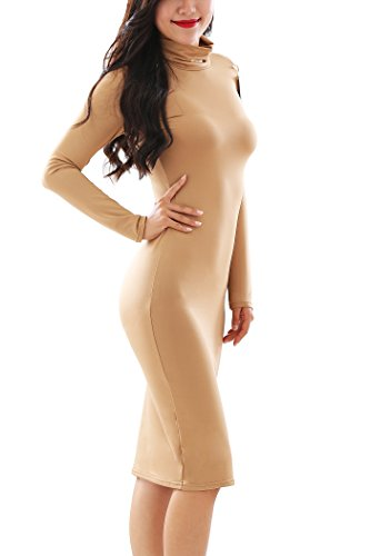 YMING Damen Elegantes Partykleid figurbetontes Kleid Bodycon Stil Rollkragen Langarm Kleid Khaki