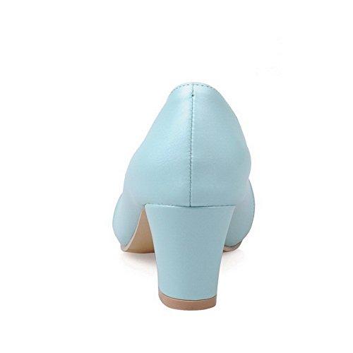 VogueZone009 Donna Colore Assortito Tessuto Lucido Tacco Medio Punta Chiusa Punta Tonda Tirare Ballerine Azzurro