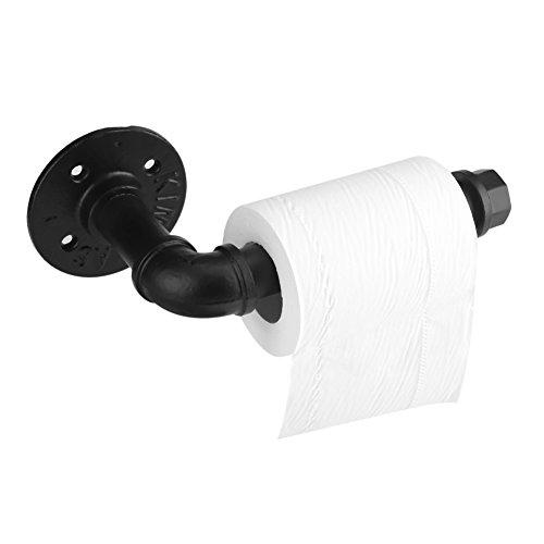 Asixx Toilettenpapierhalter, Klopapierrollenhalter WC Papierhalter aus Eisen ohne Deckel für Küche und Badzimmer, Schwarz,18cm