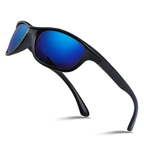 Occffy Polarisierte Sportbrille Sonnenbrille Fahrradbrille mit UV400 Schutz für Herren Autofahren Laufen Radfahren Angeln Golf TR866 (Schwarze Matte Rahmen mit Blaue Linse)