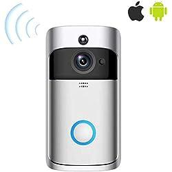 Sonnette vidéo sans Fil, 1280 * 720p, système de sécurité Intelligent, caméra WiFi HD, visionnage vidéo en Temps réel / réduction des bruits indésirables, détection de Mouvement PIR.