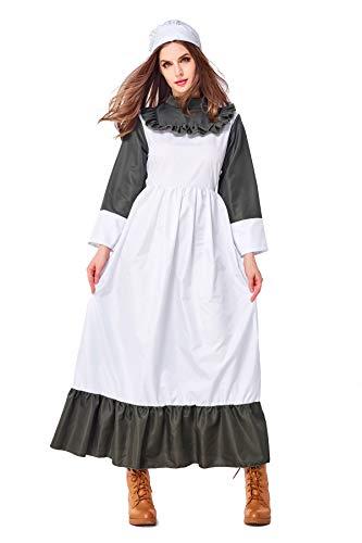 Bauernmädchen Kostüm Halloween - YuStar Halloween-Kostüm, Retro-Kostüm, europäisches und amerikanisches Bauernmädchen-Kostüm, Vintage-Tinte, Grün Gr. Medium, grün