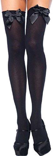 Leg Avenue Damen Damen plus size halterlose Strümpfe schwarz mit schwarzen Schleifen Einheitsgröße ca. 42 bis 44