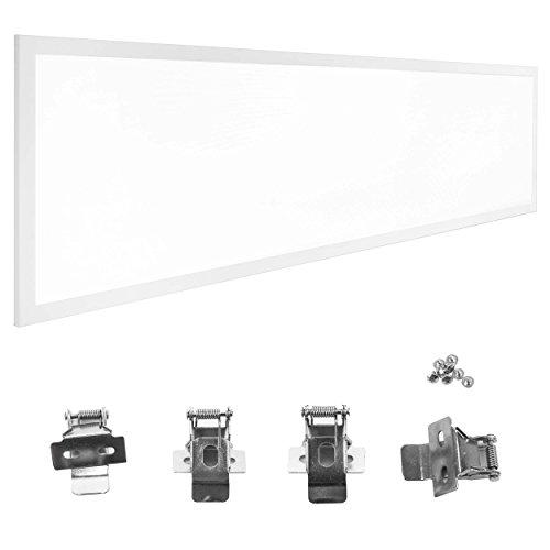 LUMIRA 50W LED Panel 120 x 30 x 1 cm, 4500K Neutralweiß, Weißer Rahmen, Flach, Blendfrei UGR <19, Einbau-Montage, Decken-Lampe, Deckeneinbau, Decken-Leuchte, inkl. Trafo und Befestigungsklammern