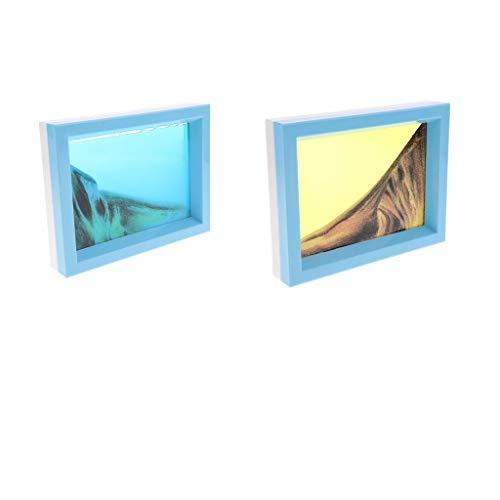 Homyl 2 Stücke 3D Sandbild Bilderrahmen - Bewegte Sandbilder - Fließende Sand Zeichnung - 17 x 13 cm