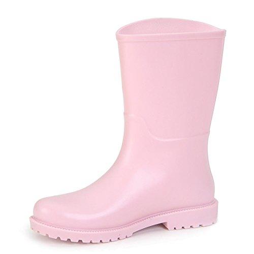 Frühling und Sommer Erwachsenen Mode Gelee Anti-Rutsch Regen Stiefel Pink