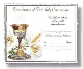 Comunione Certificato-ricordo della prima comunione.