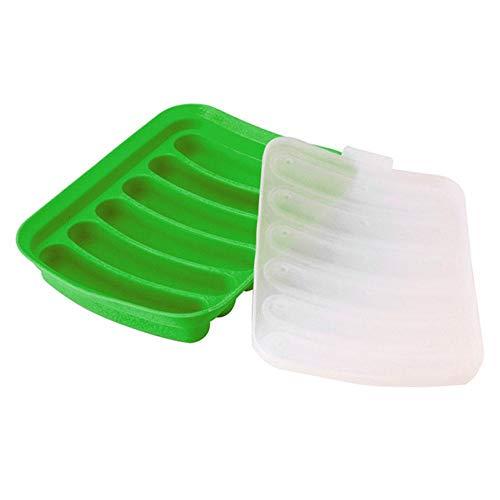 FOONEE Silikon-Form für Wurst, Mehrzweck, wiederverwendbar, Hot Dog Form für Babynahrung, DIY Wurstform, Wurstmacher, selbstgemachtes Küchenwerkzeug, zum Backen in der Mikrowelle grün Hot-dog-tray