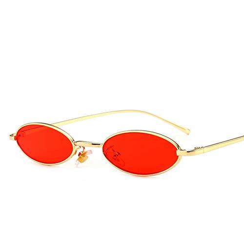 Wenkang Ovale Sonnenbrille Kleine Runde Für Frauen Mode Getönte Rote Männer Brille Damen Vintage Brillen Gelbe Brillen,Goldrahmen rot