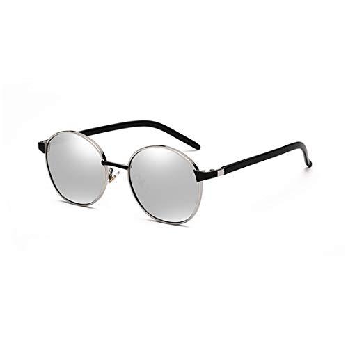 Sonnenbrille Zweifarbige reflektierende Linse Vintage Style Classic Frame Unisex UV400 Schutzbrille. Brille (Farbe : Sliver)