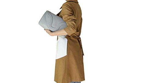 BORGENNI pochette da donna morbida media in vera pelle con tracolla regolabile e rimovibile Grigio
