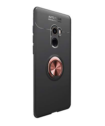Funda Xiaomi Mi MIX 2 Carcasa Delgada Silicona Suave Negro TPU Case Anti-Arañazos, con Anillo Grip Kickstand y Soporte la función de Montaje Teléfono Case para Mi MIX 2 (Xiaomi Mi MIX 2, Negro + rosa)